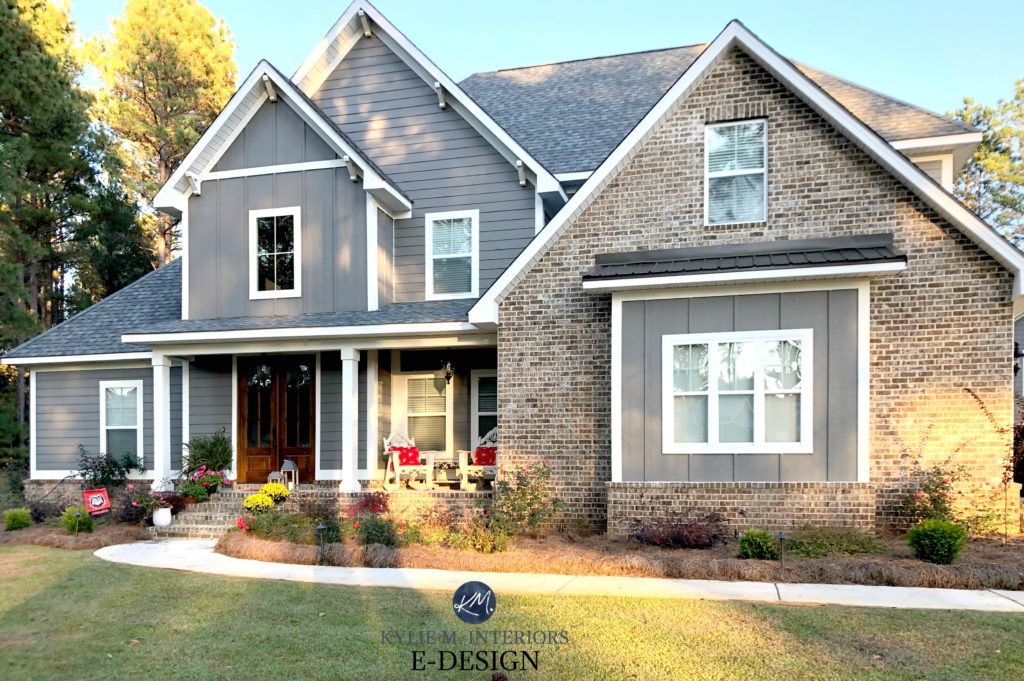 Exterior siding, Sherwin Williams Gauntlet Gray, Pure White trim, brown brick gray roof, wood shutters minwax. Kylie M Interiors Edesign, online paint colour coach advice