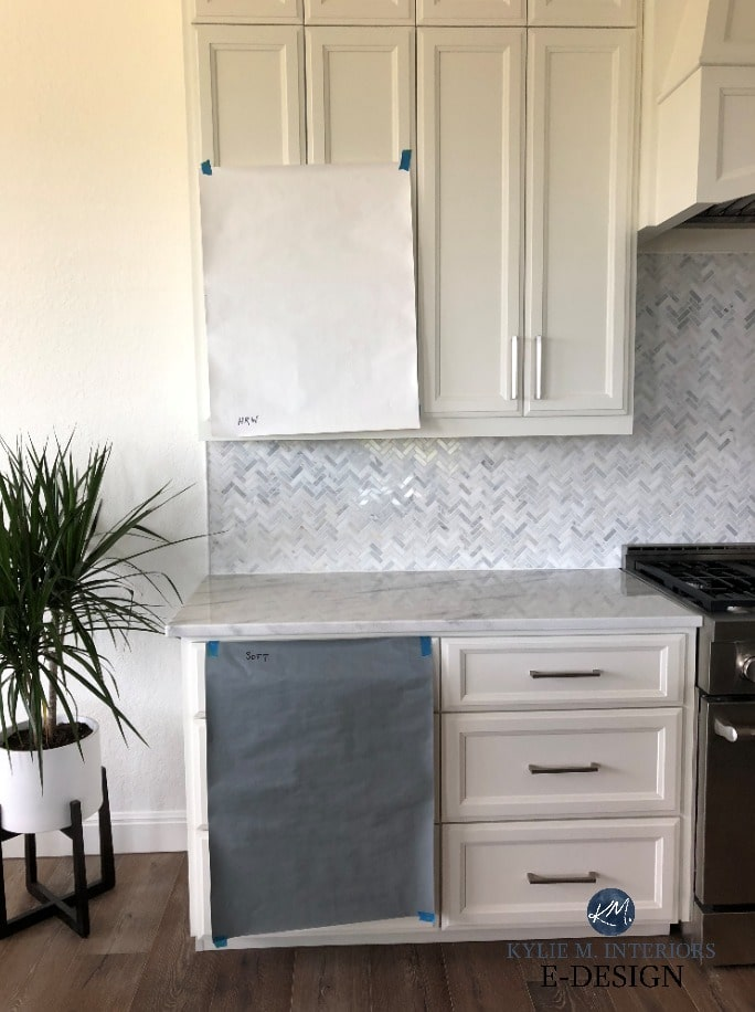 The best paint colours for cabinets, white, with marble backsplash, countertop. Kylie M Interiors Edesign, online paint colour advice and consulting