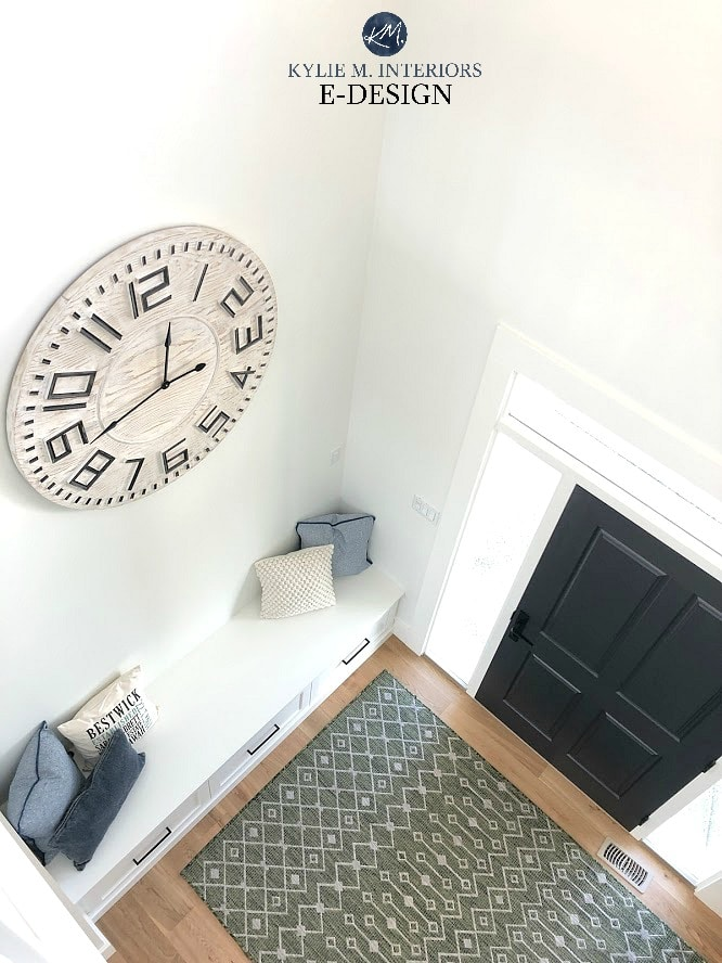 Entryway 2 storey with bench, large clock, white oak and black front door. Kylie M Interiors Edesign, online diy home ideas and consulting