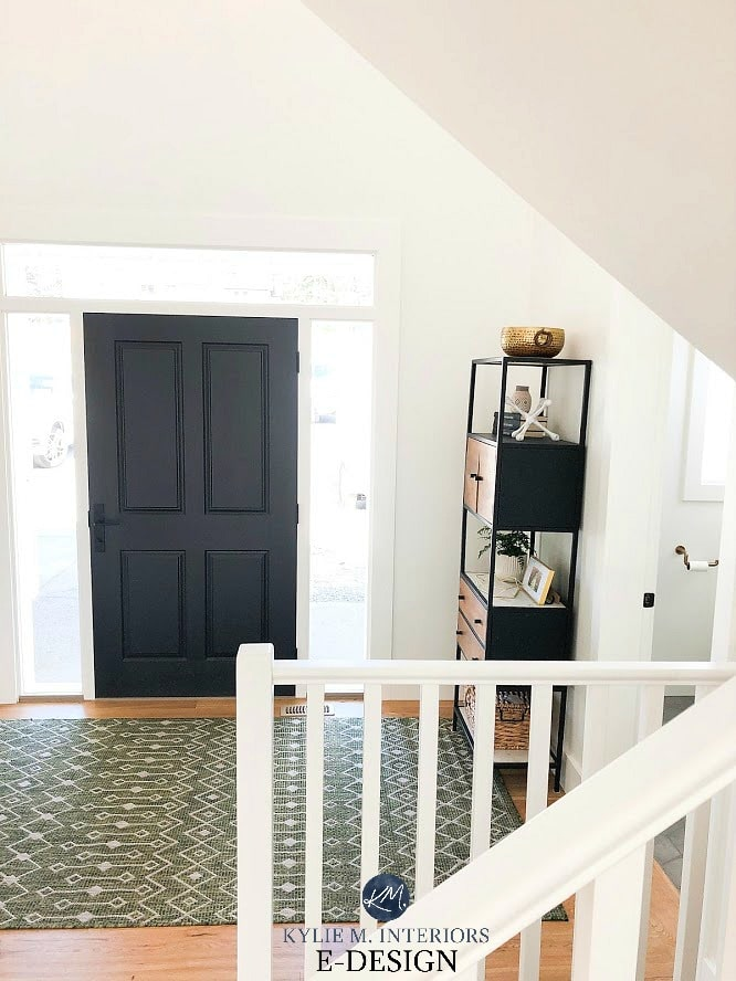 Entryway with front door in Tricorn Black, Pure White walls, Sherwin Williams. Kylie M Interiors Edesign, online paint color consult, diy home decorating ideas
