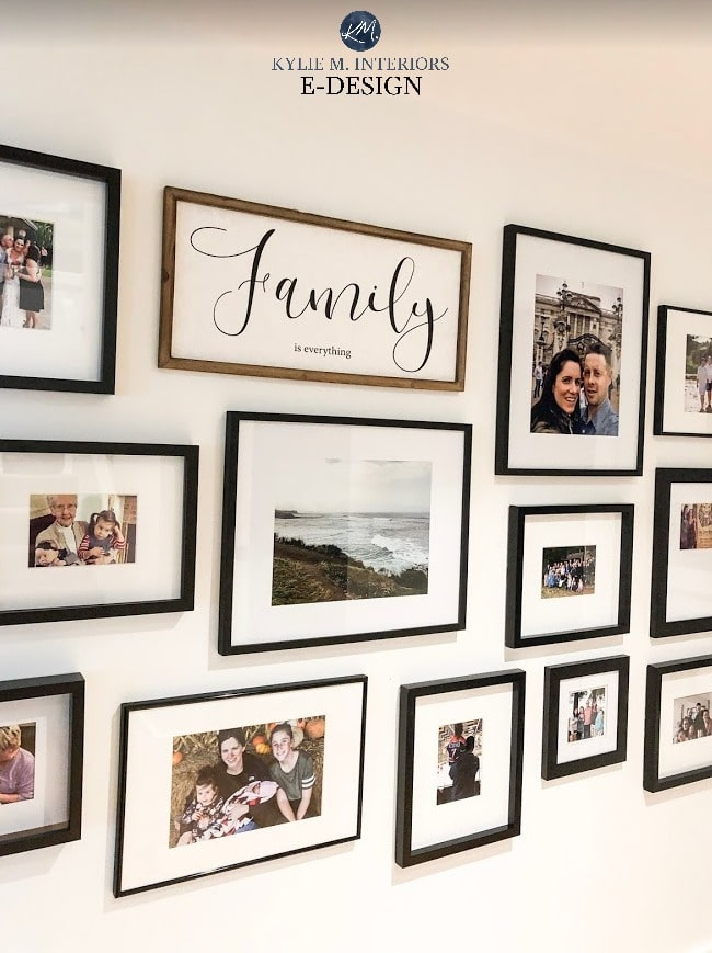 Gallery wall in family room. Kylie M Interiors Edesign online decorating and DIY home design ideas