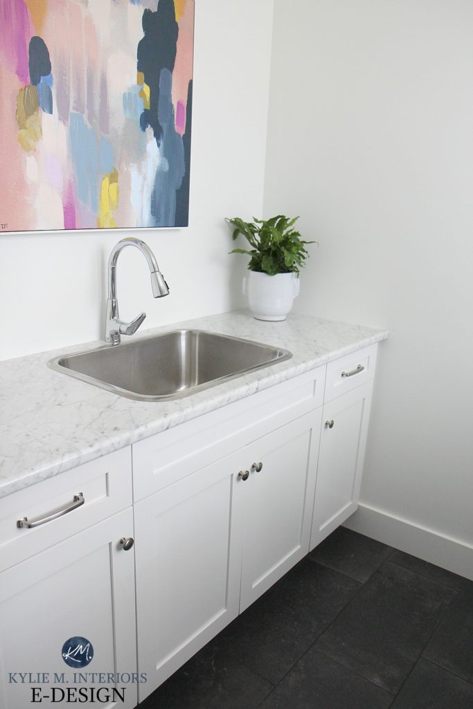 Laundry room mudroom with Formica laminate countertop Carrara Bianco, marble look. Pure White walls and cabinets. Kylie M Interiors Edesign, online paint colour blogger