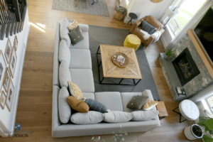 Gray sectional in Living room furniture layout, DIY Decorating and design ideas, stone fireplace, shiplap, TV. Tall ceilings, Benjamin Edgecomb Gray best greige. Sherwin Ellie Gray Kylie M Interiors