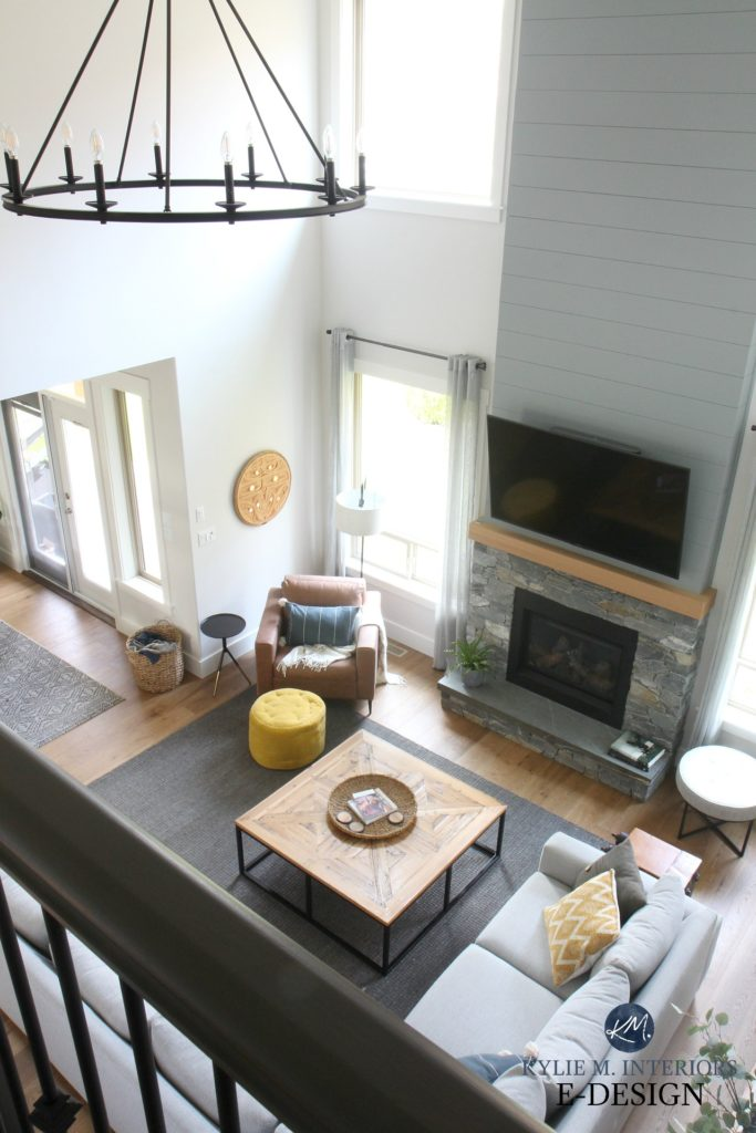Living room, stone fireplace, shiplap, TV. Tall ceilings, Benjamin Edgecomb Gray best greige. Sherwin Ellie Gray Kylie M Interiors Edesign, online expert. DIY Decorating and design ideas