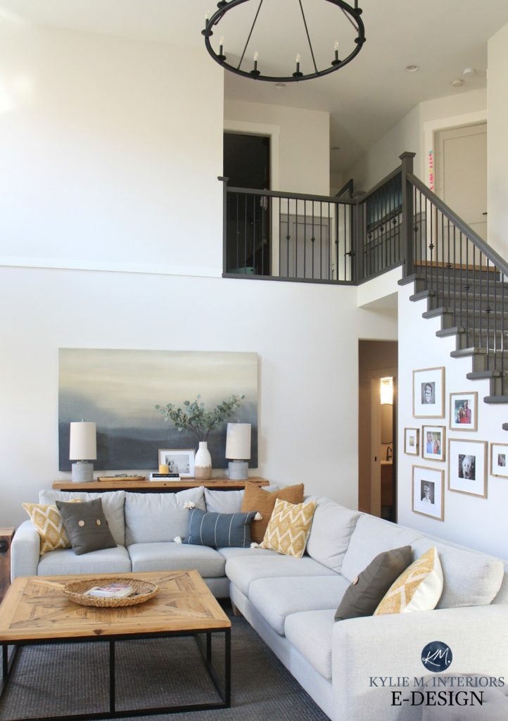 Living room, tall ceiling, vaulted, Benjamin Moore Edgecomb Gray best greige and White Dove. Sherwin Urbane Bronze painted stair railing. Kylie M Interiors Edesign, DIY Decorating, color ideas (1)