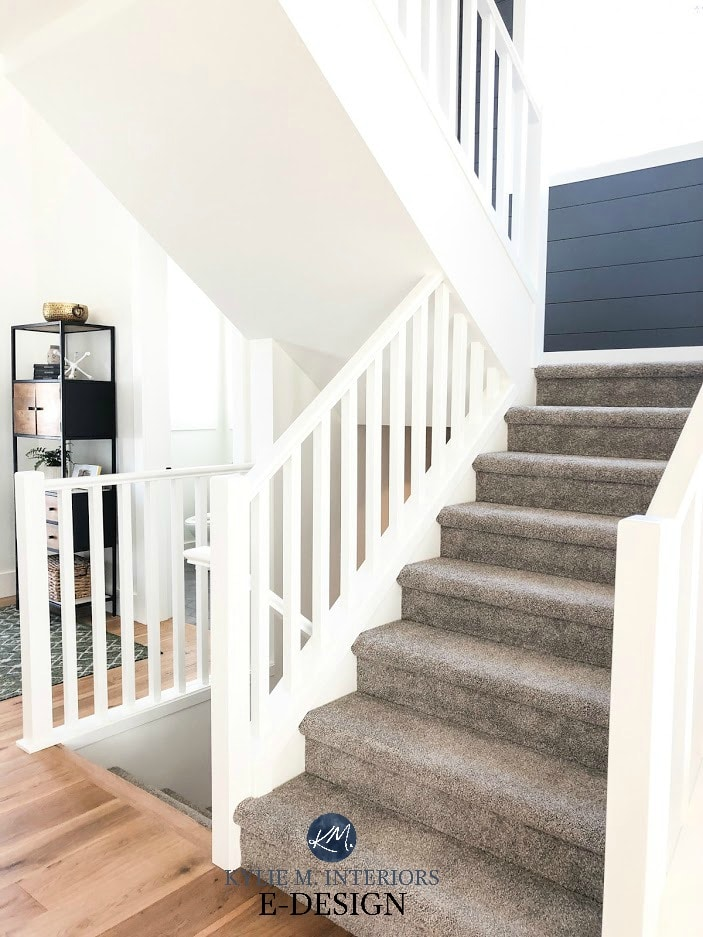 Pure White with gray carpet stairs, white railing, shiplap feature wall in Web Gray. Sherwin Williams. Kylie M Interiors Edesign