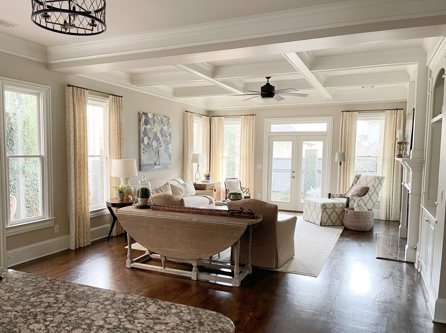 Best beige paint, Accessible Beige by Sherwin. Living room, coffered ceilings, wood floor. Kylie M Interiors Edesign, diy decor. client photo