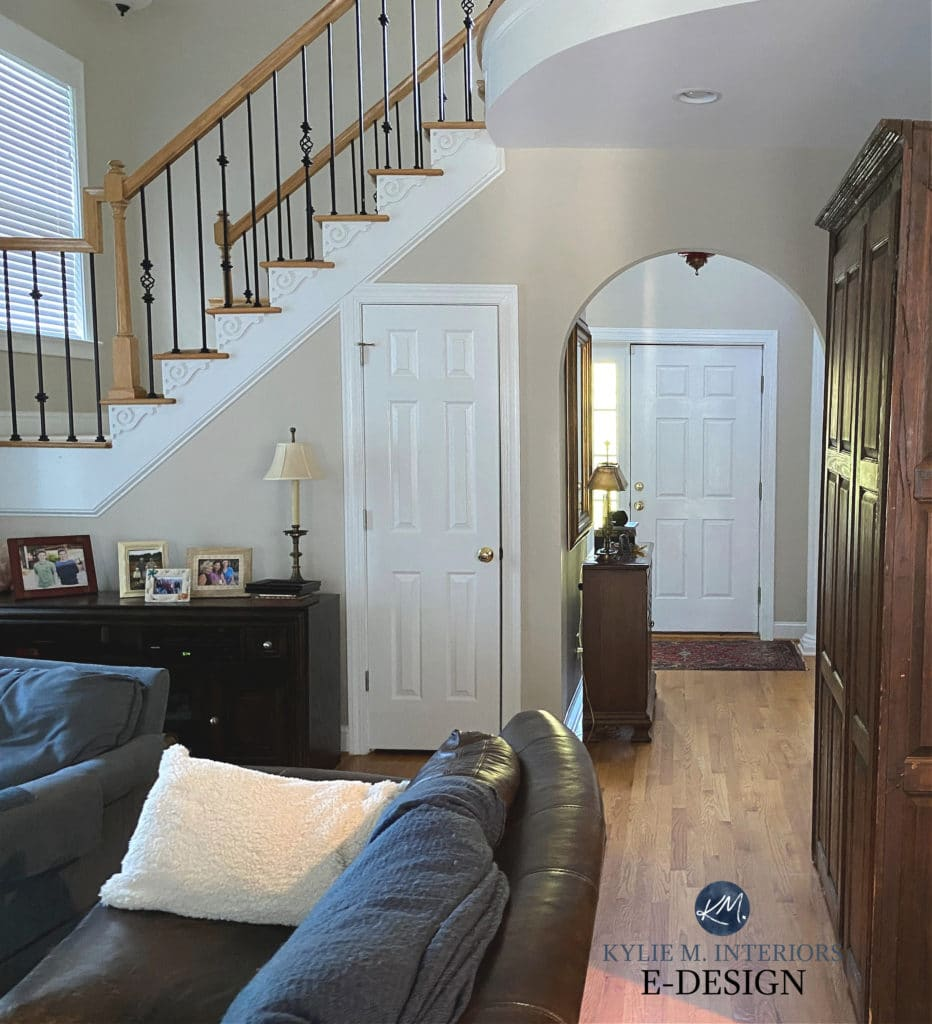 Best beige paint colour with warm oak railing and floor. Sherwin Williams Accessible Beige. Kylie M Interiors Edesign, online paint colour expert
