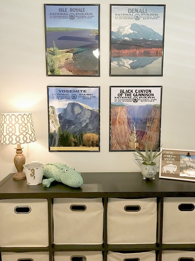 Cute idea for boys room with gallery wall and storage. Benjamin Moore Gray Owl. Kylie M Interiors Edesign, online paint color consultant