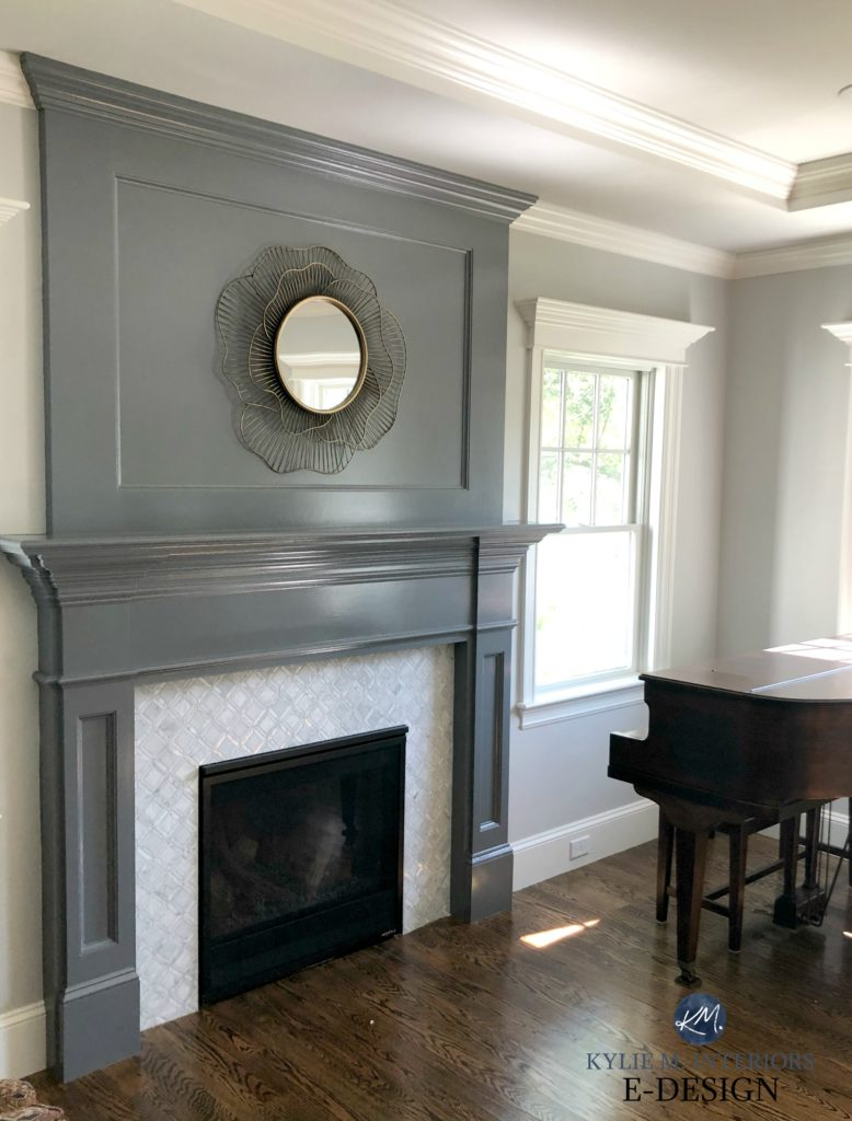 Fireplace idea marble surround and mantle painted Benjamin Moore Gray dark oak flooring, gray paint color on walls. Kylie M INteriors Edesign, online paint color consultant,