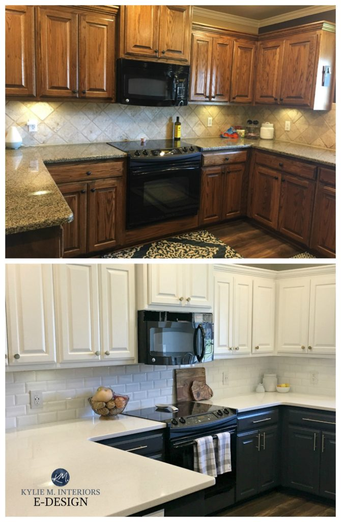 Oak kitchen update ideas. Sherwin Williams Pure White upper and Cyberspace navy blue lower cabinets. Online paint color expert. Painted wood cabinets. Kylie M Interiors Edesign