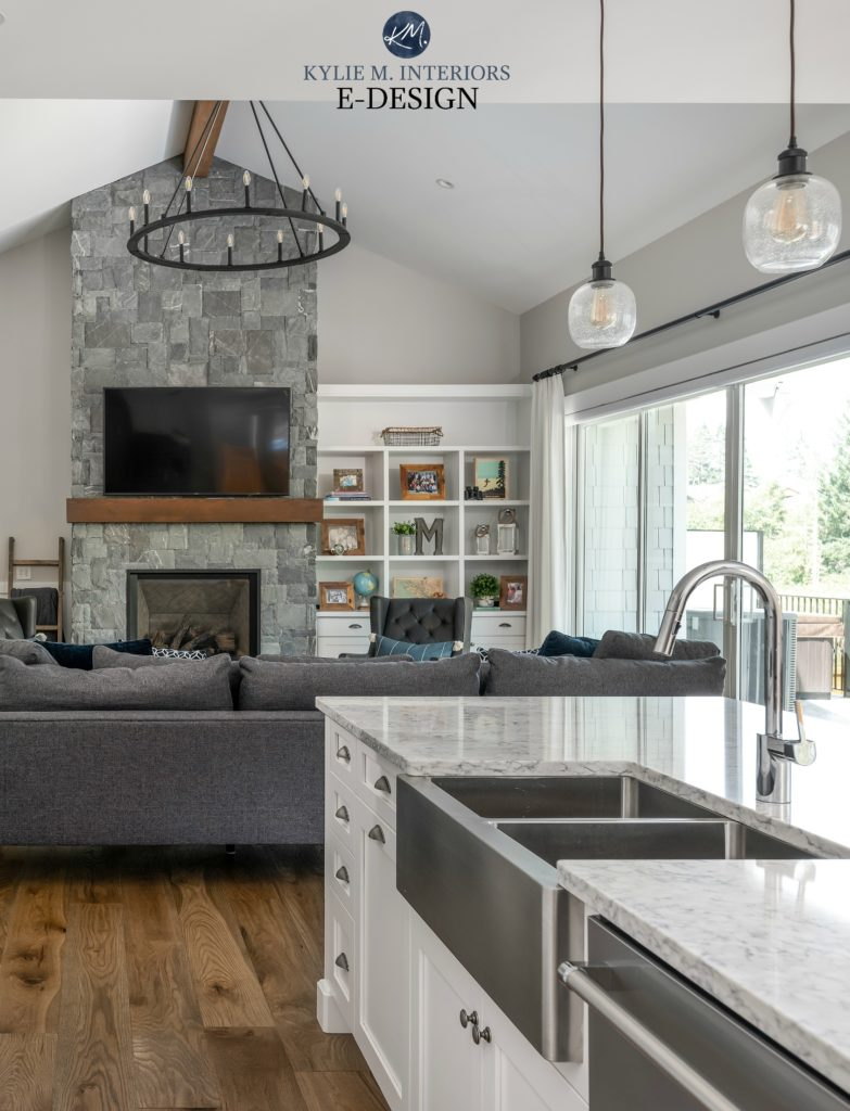 Best gray paint colour. Open concept kitchen and living room, Stonington Gray, stone fireplace K2. Kylie M INteriors Edesign. Vaulted ceiling