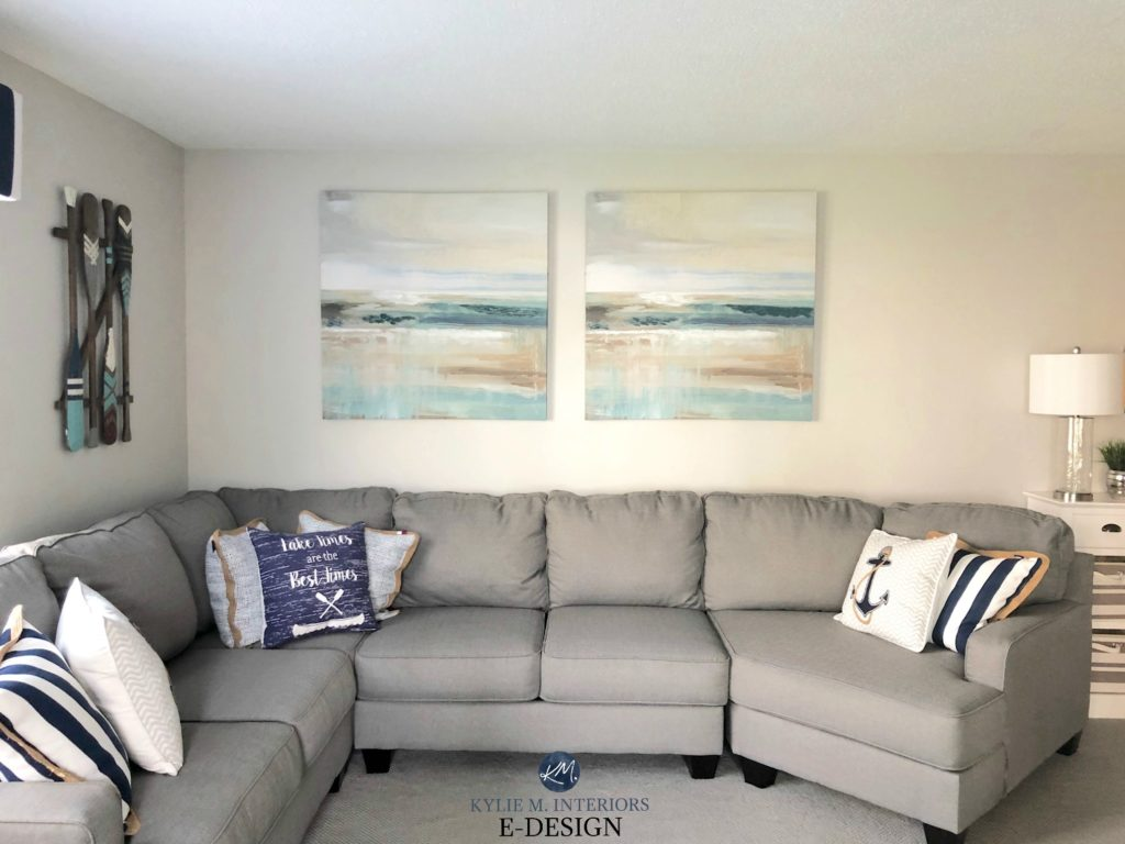 Sherwin Williams On the Rocks gray paint color, grey sectional with carpet. Coastal and beach style or theme room decor. Kylie M Interiors Edesign, online paint color consulting blog