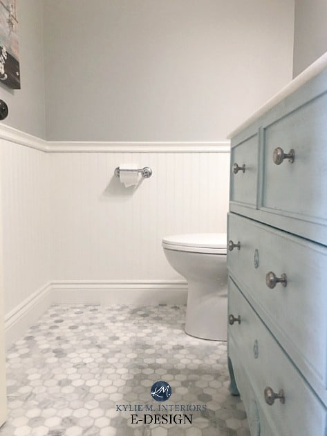 Small bathroom or powder room ideas. Marble hexagon floor, blue green vanity, white wainscoting, Stonington Gray paint color. Kylie M Interiors Edesign