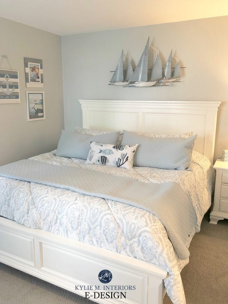 The best gray paint colour, coastal beachy theme, Sherwin Williams in bedroom with white furniture. Kylie M Interiors Edesign, online paint colour consulting online blog