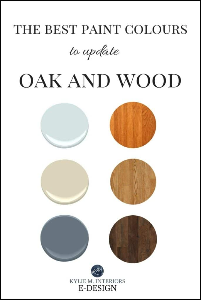 The best paint colours to update oak, wood cabinets, floor, trim and more. Kylie M INteriors Edesign, Diy decorating blog