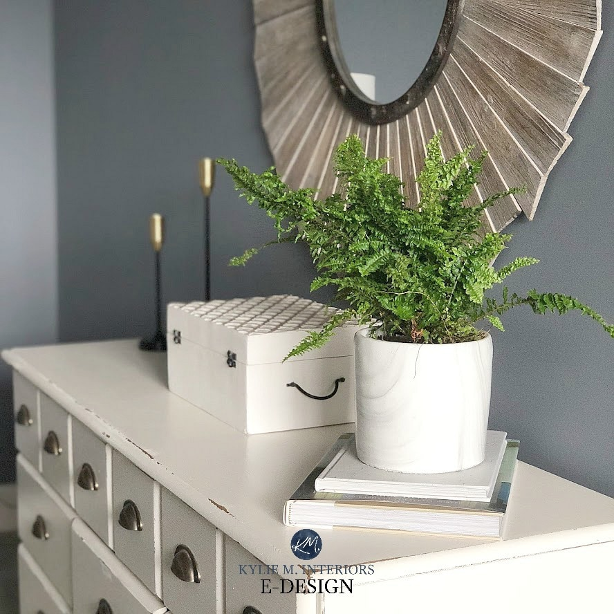 Best dark gray charcoal paint colour with undertones. Benjamin Moore Wolf Gray. Kylie M Interiors Edesign, virtual online paint colour consulting and diy decor blog