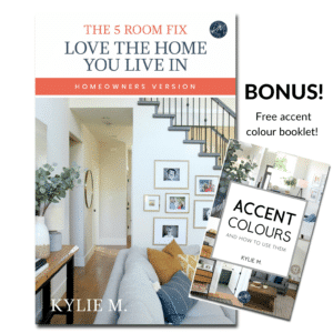 Ebook, decorating, and Diy home decor ideas to love the home you have. 5 Room Fix, Kylie M Interiors Edesign, virtual, online paint colour consultant and blogger