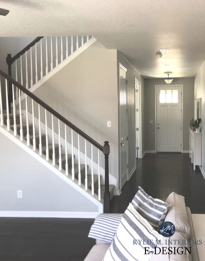 Sherwin Williams Repose Gray, dark wood flooring. White stair railing. Kylie M Interiors Edesign, diy blogger and online paint colour consultant