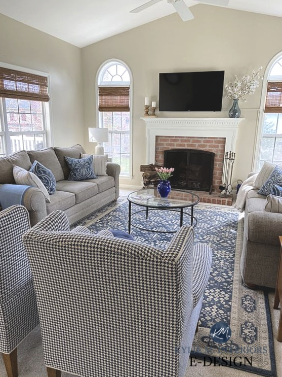 Traditional transitional style living room, brick fireplace, blue accents. Mantel decor. Kylie M Interiors Edesign, online paint color consulting and advice blog