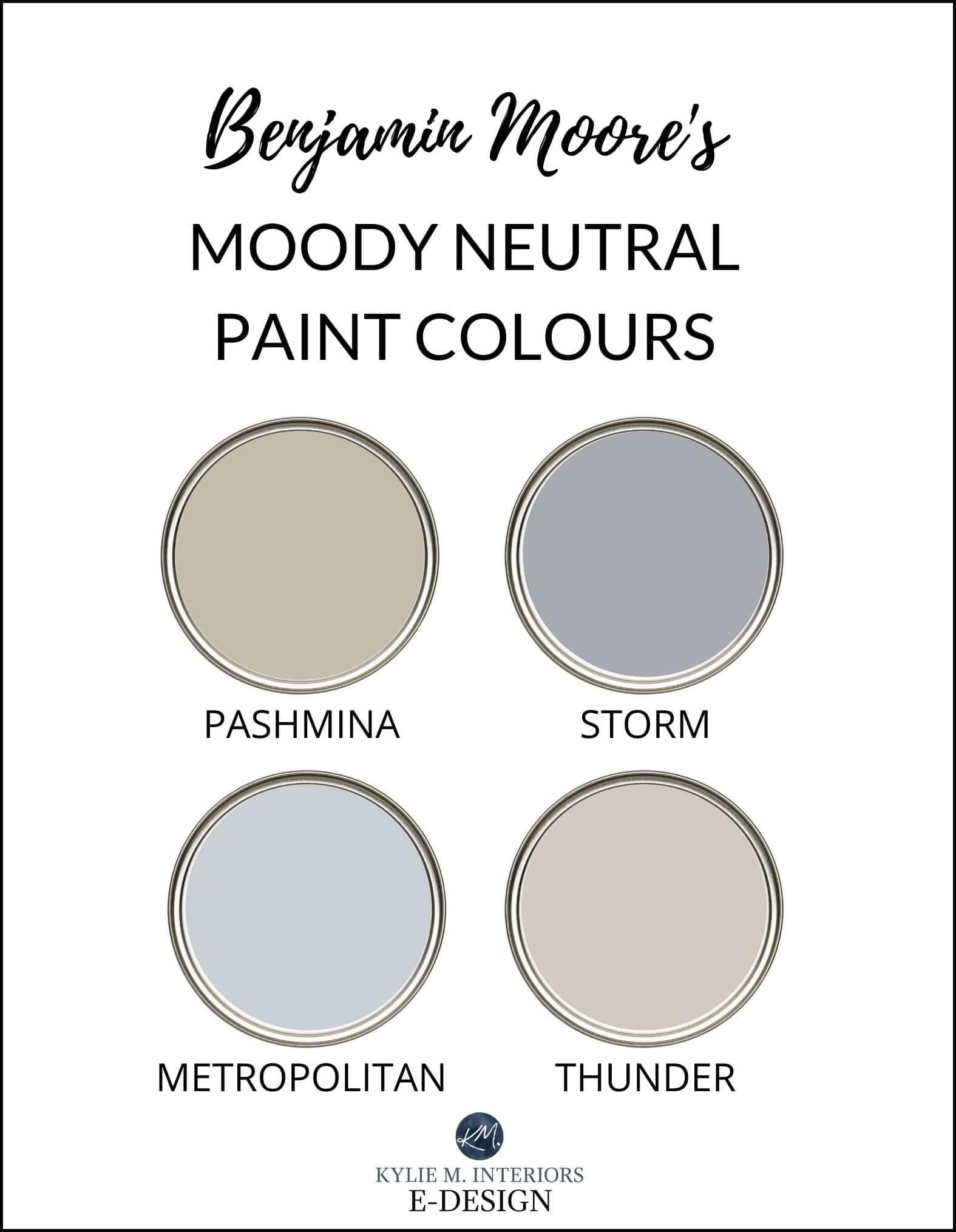 The best Benjamin Moore Affinity paint colours, Pashmina, Storm, Weimaraner, Metropolitan, Kangaroo, Thunder. Review by Kylie M Interiors Edesign, diy decor blogger