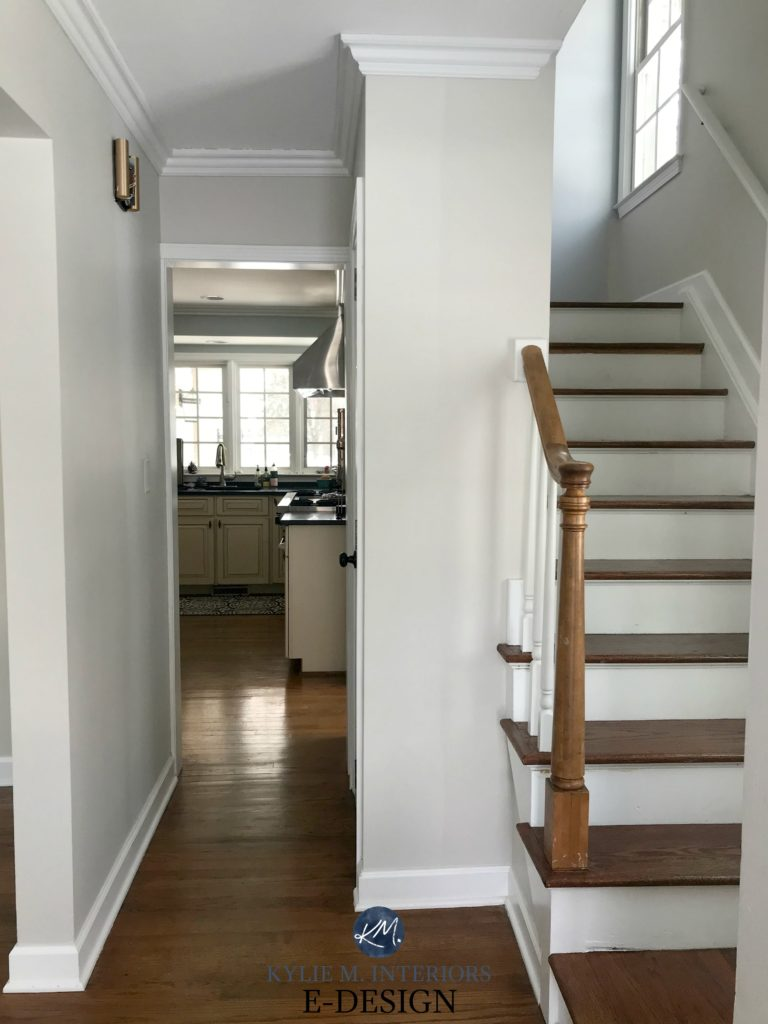 Benjamin Moore Balboa Mist, entryway and stairs, dark wood flooring and railing. White trim. Best warm gray taupe paint colour. Kylie M Interiors Edesign, online paint colour consulting
