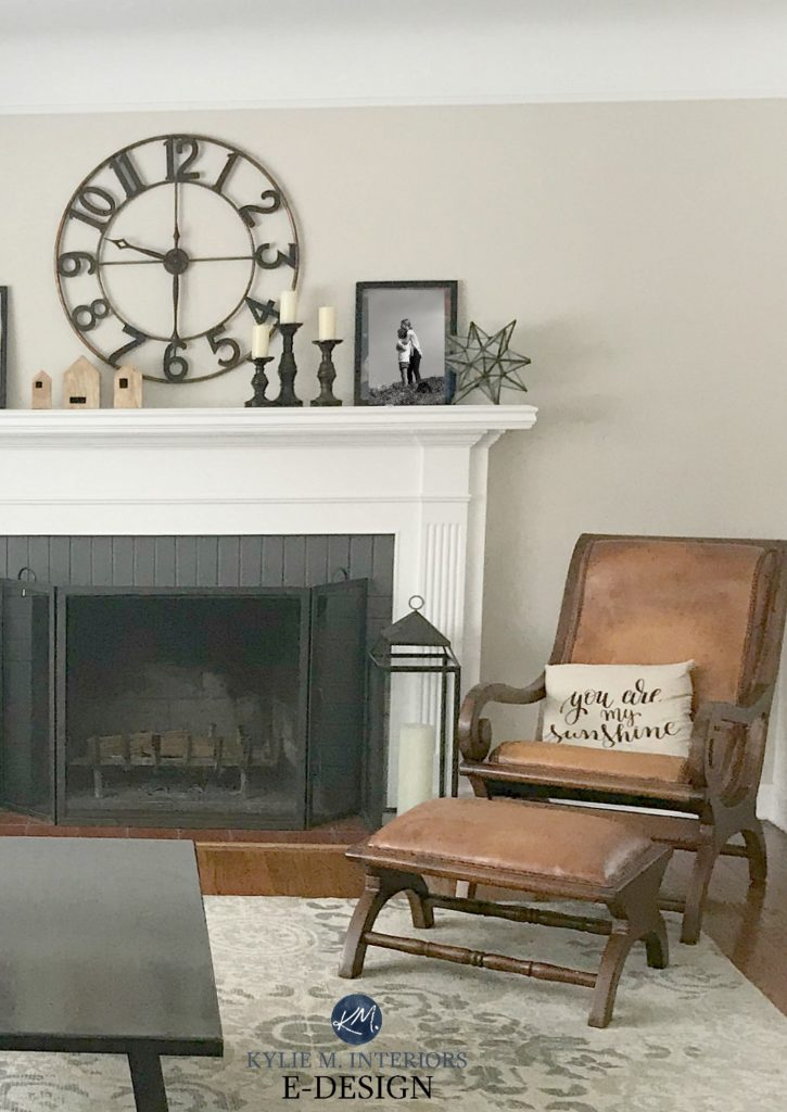 Benjamin Moore Edgecomb Gray, best greige neutral paint colour. Living room, mantel decor, fireplace, leather chair. Kylie M Interiors Edesign, online paint color consulting services