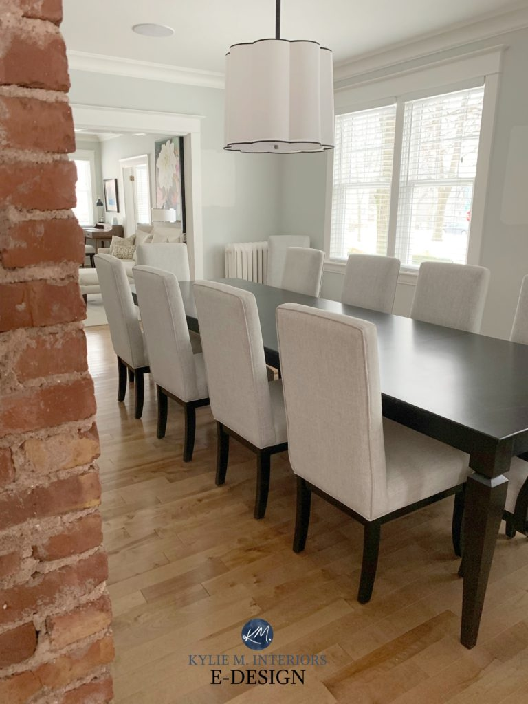 Benjamin Moore Gray Owl, dining room, maple flooring with brick accent walls, Sherwin Alabaster trim. Kylie M Interiors Edesign. client photo