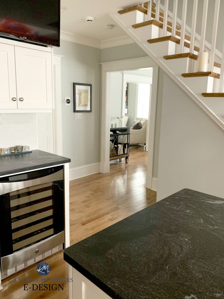 Benjamin Moore Gray Owl, maple flooring, black granite countertop, Sherwin Williams Alabaster trim. Kylie M Interiors Edesign, client photo