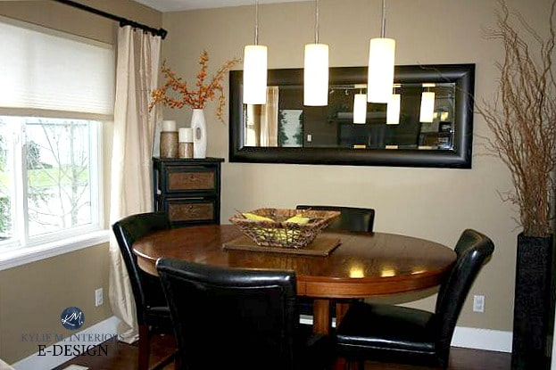 Benjamin Moore Lenox Tan, dining room with vignette, decorative home decor on the side cabinet. Kylie M Interiors Edesign, online paint colour and diy decorating advice blog