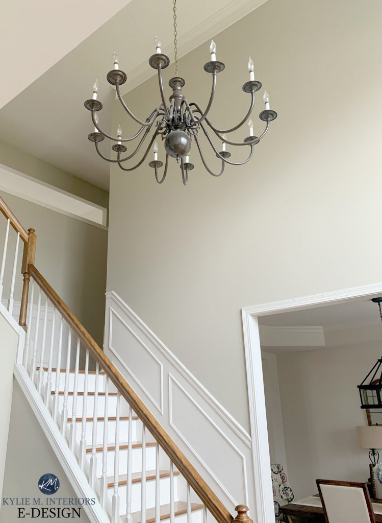 Best beige paint colour, Benjamin Moore Grant Beige. Staircase, wood and white. Kylie M Interiors Edesign, online paint color advice blog