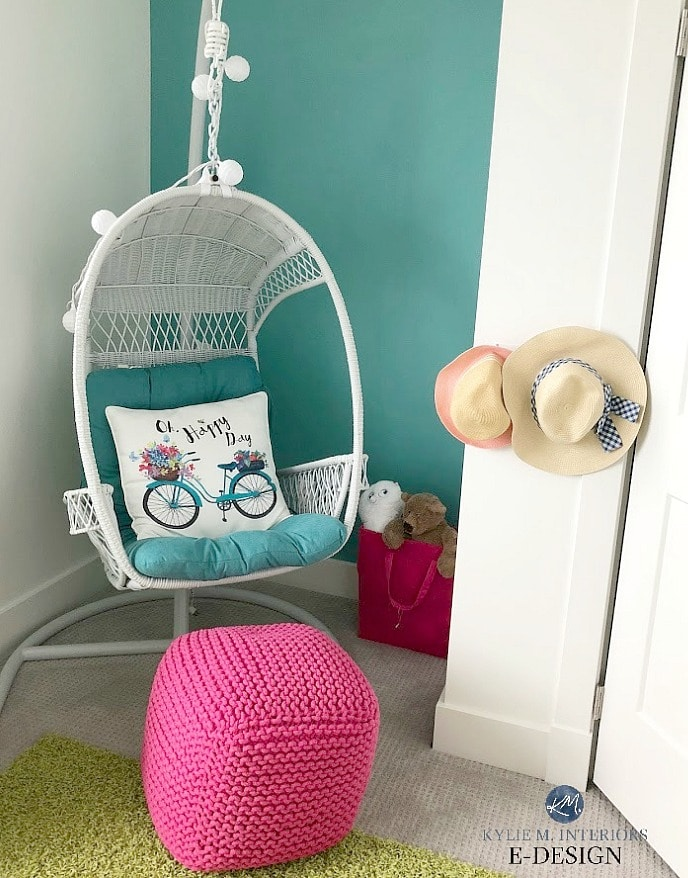 Best teal paint colour, Sherwin Williams Cloudburst and White Dove. Kids girls room with accent wall and hanging chair. Kylie M Interiors Edesign, online paint color consultant