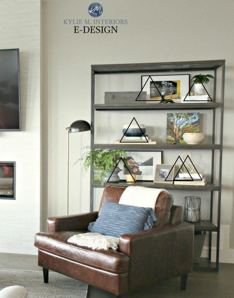 Decorating terms for accessorizing with decor. Vignette, decorative triangle, groups of three. Kylie M Interiors Edesign, online paint color consultant and diy decorating ideas