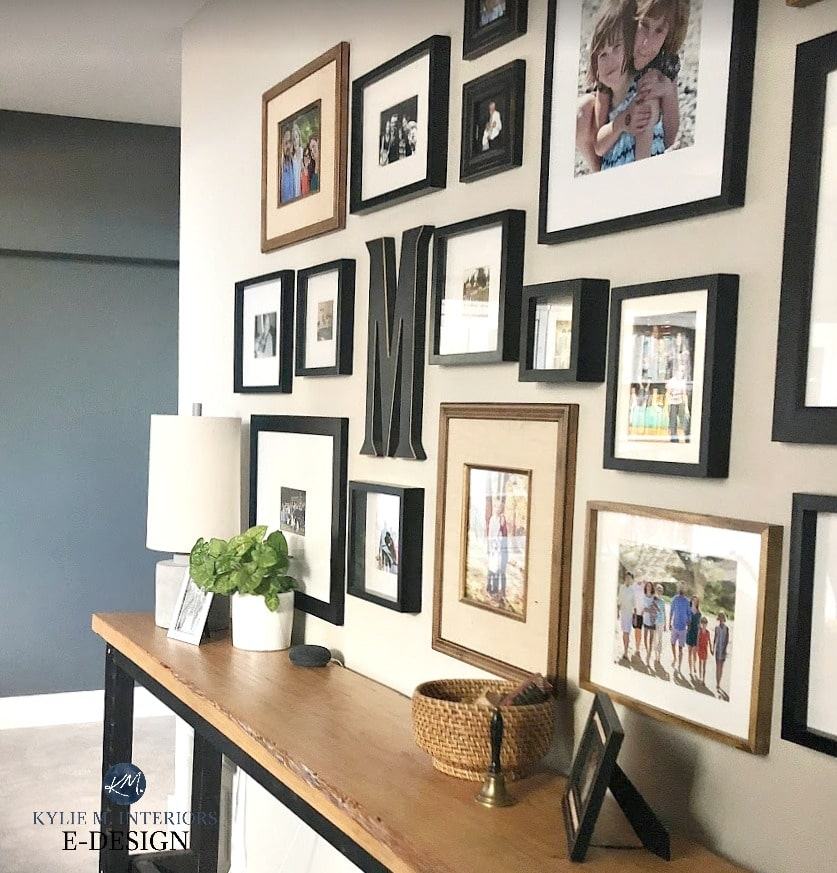 Family gallery wall, Sherwin Williams Colonnade Gray and Grizzle Gray. Kylie M Interiors Edesign, online paint color blog and advice