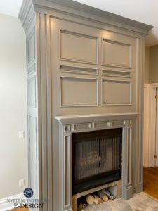 Fireplace surround and builtin painted Benjamin Moore Amherst Gray and Revere Pewter walls. Kylie M Interiors Edesign. Cabinet paint color