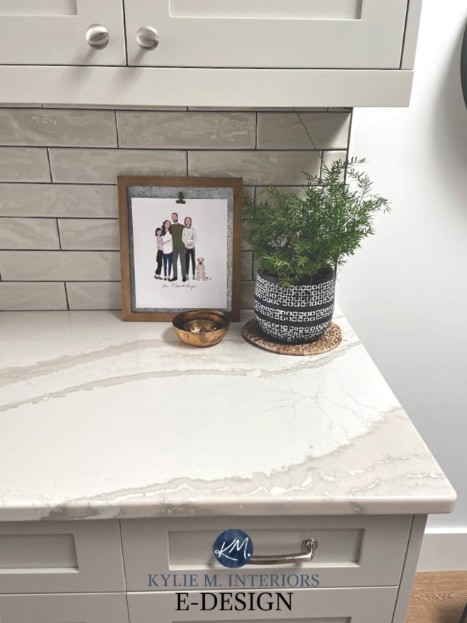 How to create a decorative vignette, accessorize, decorate a countertop, shelf, mantel, bookshelf. Kylie M Interiors Diy design ideas Cambria Brittanica quartz