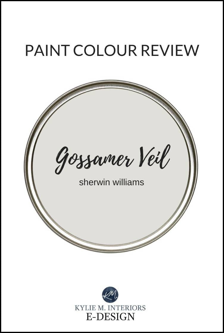 Paint colour review of Sherwin Williams Gossamer Veil, best greige, warm gray paint colour. Kylie M Interiors, online, virtual paint colour consulting and E-design consulting blog