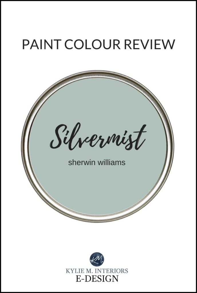 Paint colour review of a popular blue green blend paint colour, Sherwi Williams Silvermist. Kylie M Interiors Edesign, online and virtual paint color consultant