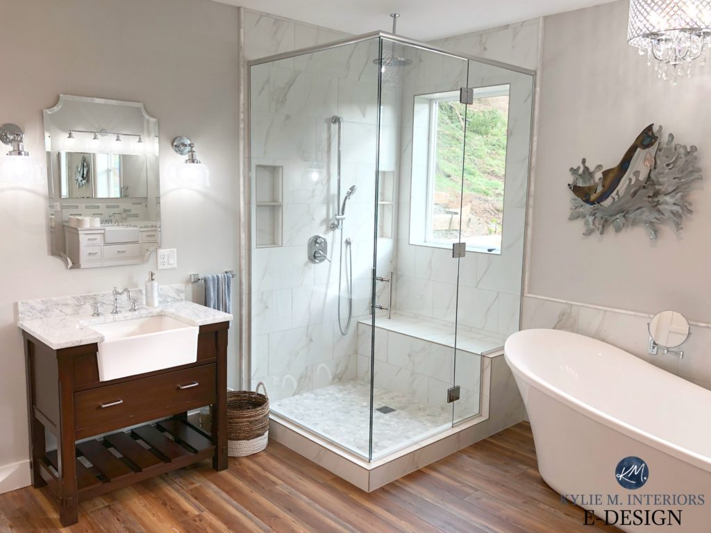 Sherwin Williams Big Chill, best grey paint color. walk in shower, marble, wood floor, Kylie M INteriors Edesign, online paint colour consulting