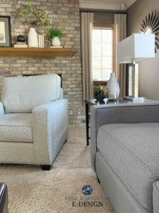 Taupe brick brick fireplace, mantle with home decor, taupe beige carpet. Kylie M Interiors Edesign, online paint color consultant