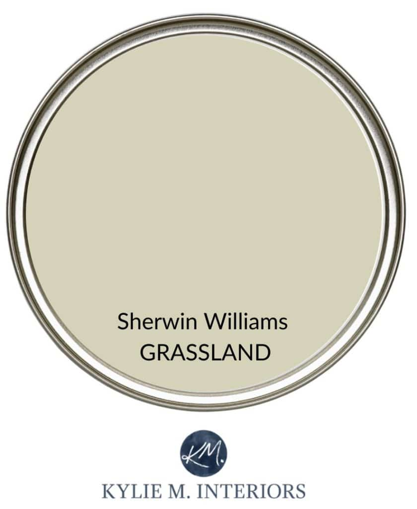 The best calming, soothing paint colours to reduce stress in a room. Kylie M Interiors Edesign, online paint colour consulting. Sherwin Williams Grassland green