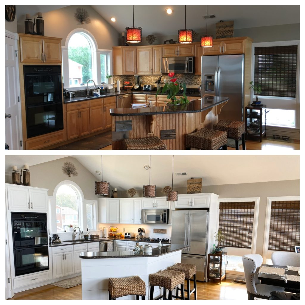 Painted maple kitchen cabinets before and after, similar to Benjamin White Dove. Kylie M Interiors Edesign, update ideas blog