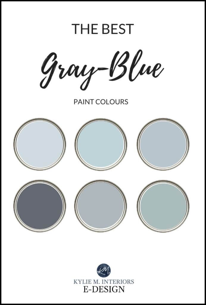 The best top blue-gray paint colours, green purple undertones. Kylie M INteriors, Benjamin Moore and Sherwin Williams. Edesign, online paint color advice blog