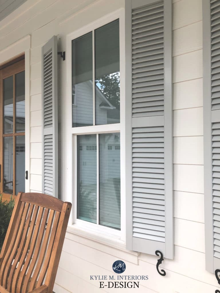 Alabaster exterior home, shutters, Sherwin Williams Aloof Gray, green gray. Kylie M Interiors Edesign, modern farmhouse exterior