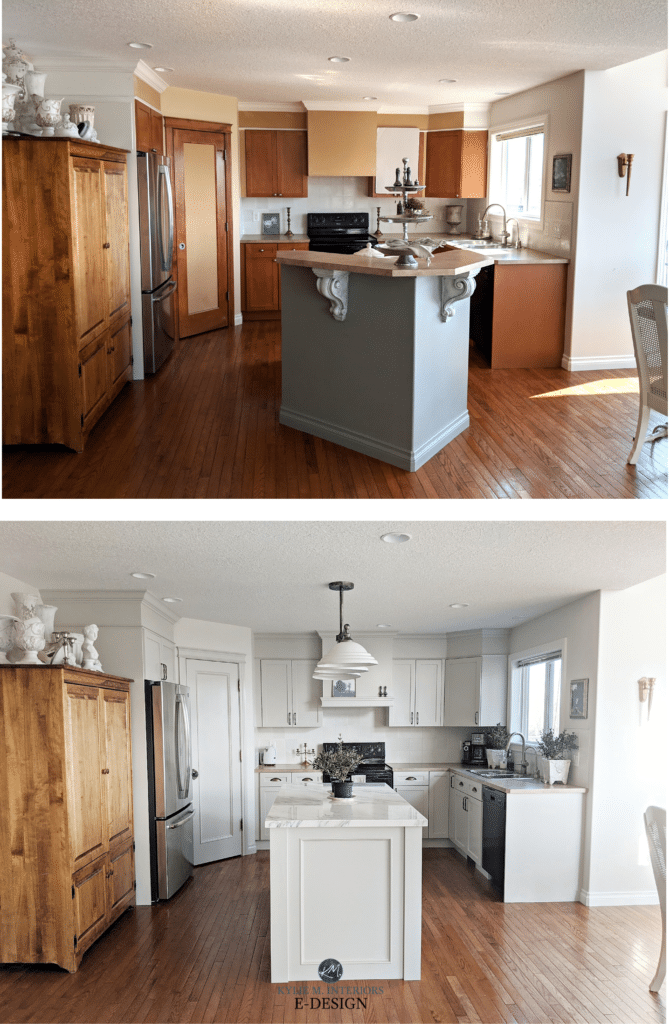 Before and after, painted maple kitchen wood cabinets. Sherwin Williams gray greige. Island marble. Kylie M Interiors Edesign, online paint color consulting