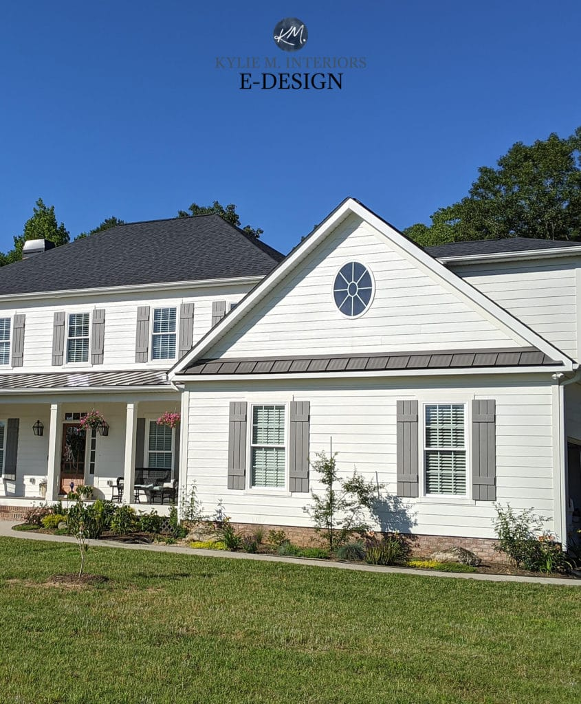 Exterior, best white paint color, Sherwin Alabaster. Grey metal roof. Gray shutters, pink toned brick. Kylie M Interiors E-design, online paint color consulting