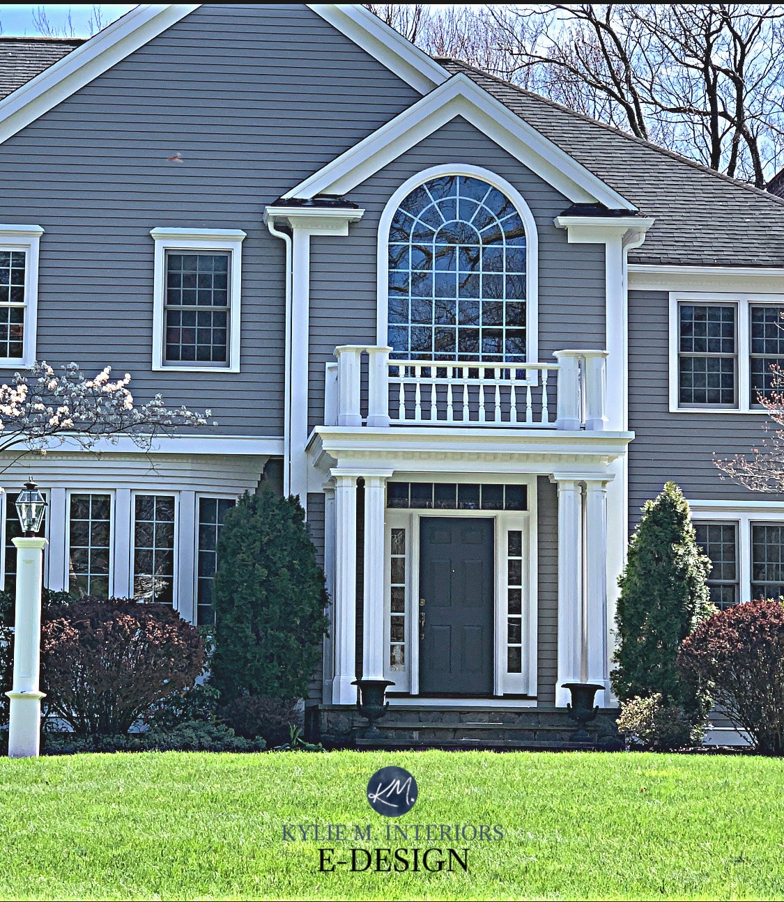 Exterior Painted Warm Gray Benjamin Moore Graystone White Trim Dark Front Door Exterior Edesign Virtual Paint Color Consult By Kylie M Interiors Colour Expert