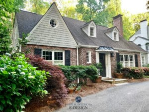 Exterior, shakes, shutters. Sherwin Williams best gray, Knitting Needles, Wrought Iron and Pure White trim with dormer windows. Kylie M Interiors Edesign, online paint color advice (2)