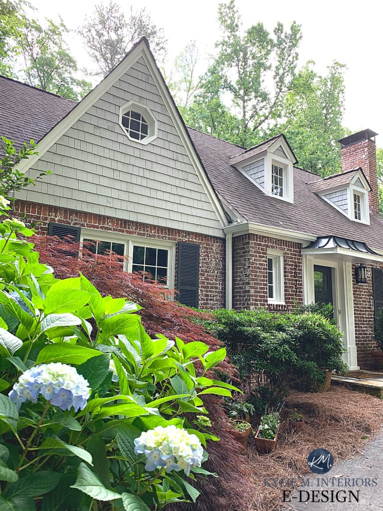Exterior, shakes, shutters. Sherwin Williams best gray, Knitting Needles, Wrought Iron and Pure White trim with dormer windows. Kylie M Interiors Edesign, online paint color advice (5)