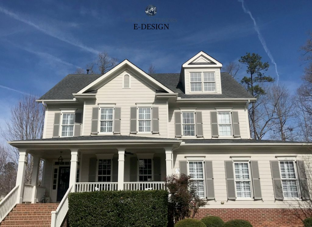 Exterior sunny day, south facing, brick home painted BM Revere Pewter, SW Creamy White client choice and BM Graystone shutters. KYlie M Interiors Edesign, online paint color consulting